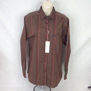 Faconnable Stripe Brown Pink Long Sleeve Medium